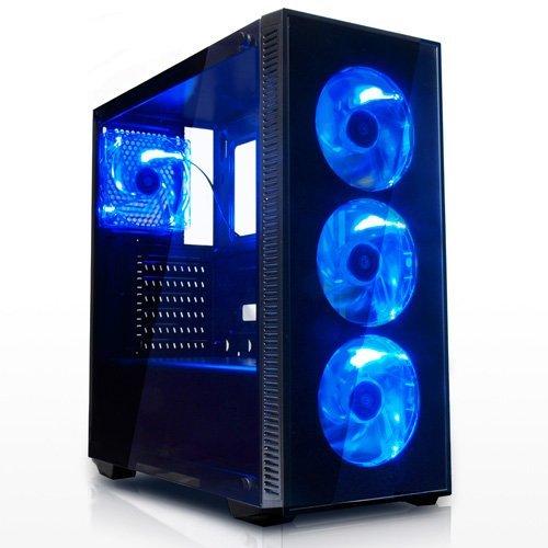『サイズ 強化ガラス採用 ブルーLEDファン4基搭載 ATXミドルタワーPCケース』のトップ画像