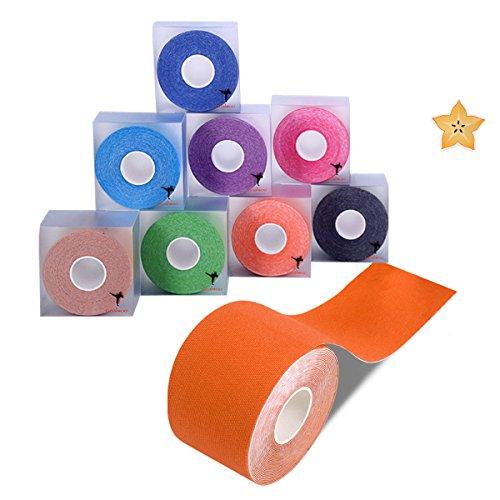 Cinta de kinesiología (1 o 2 unidades), rollo de 5 cm x 5 m, impermeable, transpirable, cinta de terapia física para ayudar a curar y prevenir músculos y articulaciones, juega y mejora la cinta circulatoria, 8 colores disponibles