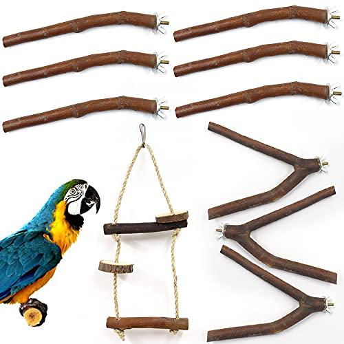 Betinyar Juego de 10 soportes de madera natural para percas de pájaros, plataforma para percas de loro, juguete para mascotas para cachorros, cacatiel periquito de loros (naturaleza)