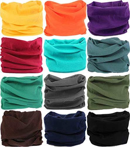 VANCROWN Headwear Head Wrap Sport Headband Sweatband 220 Patterns Magic Scarf 12PCS & 6PCS 12 in 1 (12PCS.Solid Color)