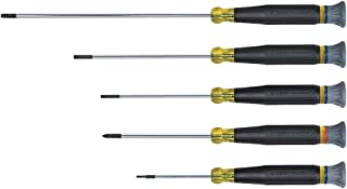 Klein Tools 85614 Precision Electronic Screwdriver Set with (4) Flat Head and (1) Phillips Head, 5 Piece