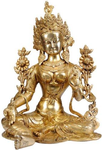 Exotic India Tara tibetana Budista Verde de la Dieta, latón Natural, tamaño: 22,8 x 29,5 x 38,1 cm