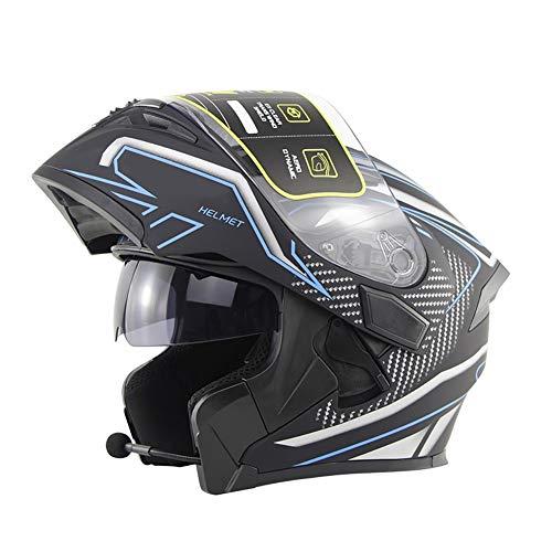 Casco Moto Modular Cascos Integral Flip Up Bluetooth Incorporado con Doble Visera Lentes Antivaho Abre Fácil El Aislamiento ECE 22-05 Aprobado Calentar para Adultos(53-62cm)