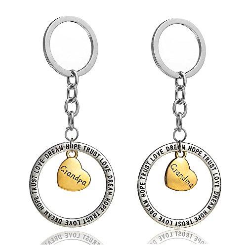 """Schlüsselanhänger-Set für Bruder und Schwester, goldfarbene Herzanhänger in einem Ring mit der Aufschrift """"Trust Love Dream Hope"""", 2Stück"""