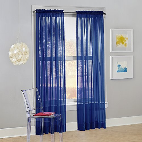 "No. 918 53562 Calypso Sheer Voile Rod Pocket Curtain Panel, 59"" x 63"", Royal Blue, 1 Panel"