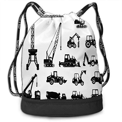 Printed Drawstring Backpacks Bags,Black Silhouettes Concrete Mixer Machines Industrial Set Trucks Tractors,Adjustable String Closure