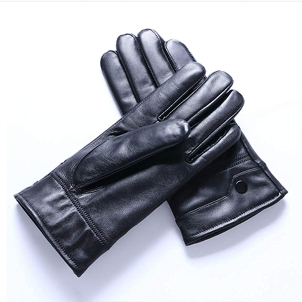 RSQJ Leather Gloves Men and Women Winter Warm Plus Velvet Thick Thin Sheep Leather Gloves Riding Cycling Motorcycle (Size : Medium) (Color : A1, Size : Large)