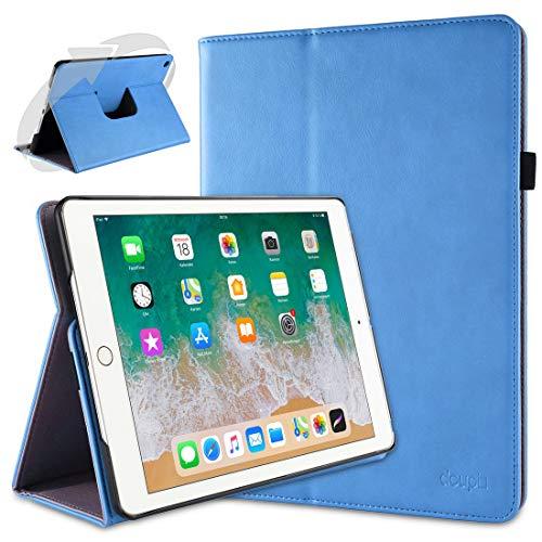 doupi Deluxe Protección Funda para iPad 2017/2018, Smart Sleep/Wake Up función 360 Grados giratoria del Caso del Soporte Bolsa, Azul