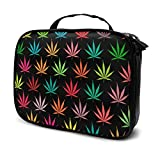 YongColer Colorful Cannabis Storage Bag Pouch Portable Gift for Girls Women Large Capacity Cosmetic Train Case for Makeup Brushes Jewelry Casual Travel Bag