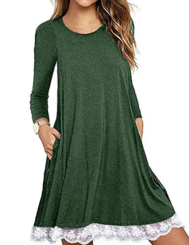 Halife Women's Casual Long Sleeve Plain Simple T-Shirt Loose Tunic Dress Green,S