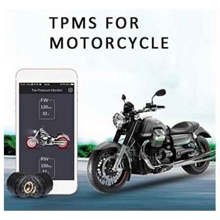 Kunfine Motorrad Bluetooth Reifendruck Kontrollsystem Tpms Handy App Erkennung 2 Externe Sensoren Auto