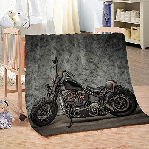Bbaodan Decke Flanell Retro Motorrad Flauschig Weich Angenehm Warm Wohn- & Kuscheldecke 130x150 cm