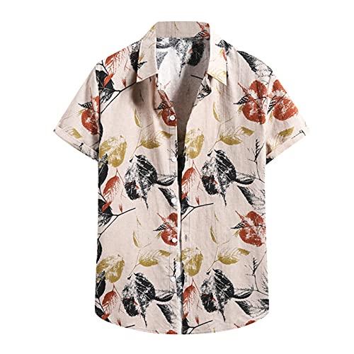Camisa hawaiana para hombre con estampado de flores, vacaciones, para el tiempo libre, informal, para la playa, de manga corta, cuello en V B_beige. S