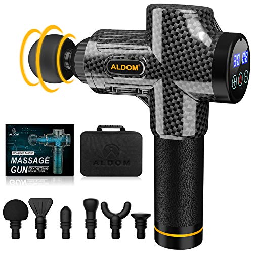 Massage Gun Muscle Massager Deep Tissue Percussion Massager Cordless 30 Speed Level Professional Handheld Electric Body Massager Sports Drill with 6 Heads (Carbon Fiber)