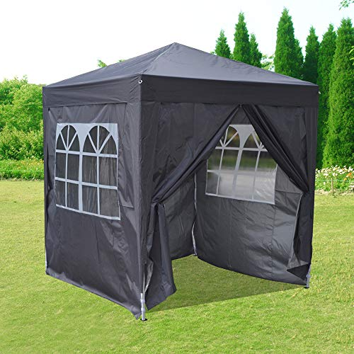 Pop Up 2 x 2m Outdoor Gazebo Marquee Garden Awning Tent Folding Canopy with 4 Sidewall and Carrying Bag for Festival Wedding Party (Grey)