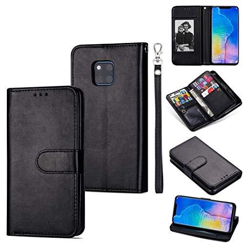 LWL House Caso para Huawei Mate 20 Pro Ultra-Thin 9 Card Horizontal Flip Funda de Cuero, con Ranuras y Soporte para Tarjeta y cordón (Color : Black)