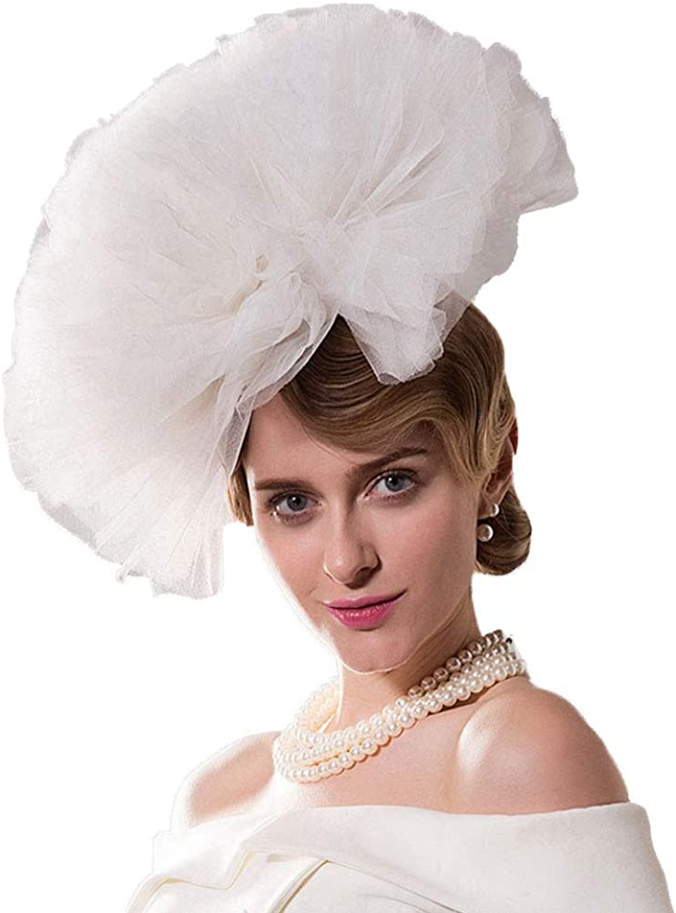 35% OFF F Limited time sale FADVES White Fascinator Pillbox for Kentucky Wedding Hat Veil