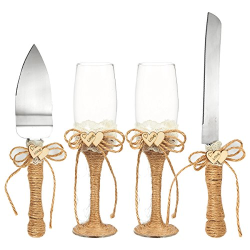 4-Piece Wedding Supplies - Cake Knife, Pie Server Set and Wedding Champagne Glasses Set, 2 Toasting Champagne Flutes, 1 Pie Server and 1 Cutting Knife, Rustic Bride Groom Gifts with Jute Handles