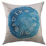 DRXX Funda de Almohada Decorativa, círculo, Zodiaco, horóscopo, símbolos, Azul, Acuarela, Acuario, decoración del hogar, Funda de Almohada, 45X45cm
