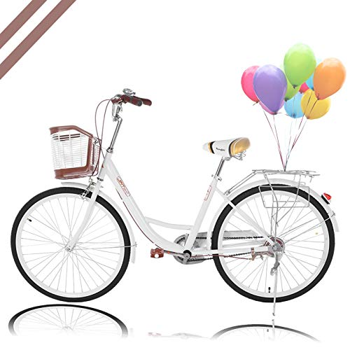 Women Bikes Beach Cruiser Bike, 26 Inch Classic Retro Bicycle Road Bikes, Single Speed Bicycle Commuter Bicycle High-Carbon Steel Frame, Front Basket, Rear Racks (White)