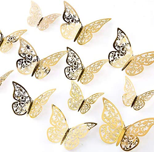 AIEX 24pcs 3D Butterfly Wall Stickers 3 Sizes Butterfly Wall Decals Room Wall Decoration for product image