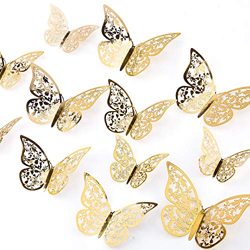 AIEX 24pcs 3D Butterfly Wall Stickers 3 Sizes Butterfly Wall Decals Room (Gold)