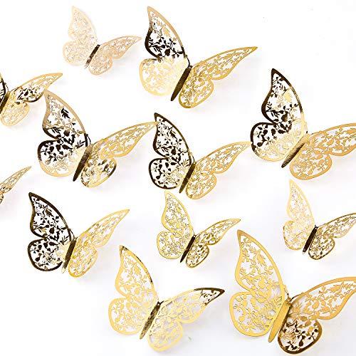 AIEX 24 Piezas Adornos De Mariposas 3D Pegatinas Extraíbles De Color Dorado Vivo Con 3 Tamaños Diferentes, Para Calcomanías De Pared, Adornos De Habitación De Niños, Decoración De Fiesta De Boda