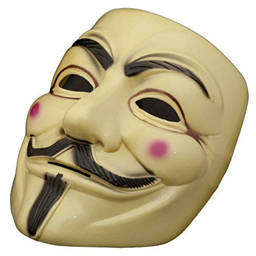 Máscara V de Vendetta - Máscara de Guy - Color beige, para Halloween, carnaval, Anonymous