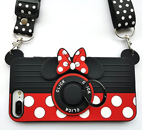 for iPhone 6 plus Case iPhone7 plus Case iPhone 8 plus Case 6S plus Case 3D Cute Soft Silicone Cartoon Minnie Mouse Camera Design Phone Case for Women/Girl/Friends Classmate Best Birthday Gift (5.5in)