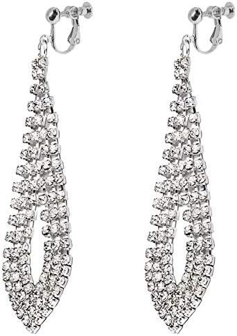 Waterfall Clip on Dangle Earrings for Women Girls Chandelier Rhinestone Leaf Big Teardrop Boho Tassel