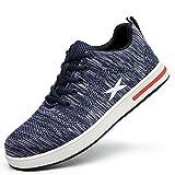 Meng Zapatos de Seguridad para Hombre Transpirable Ligeras con Puntera de Acero Zapatillas de Seguridad Trabajo, Calzado de Industrial y Deportiva (Color : Blue, Size : 37)