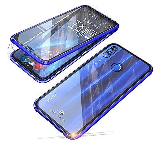 Coque pour Huawei P Smart 2019 /Honor 10 Lite Flip Cover Ultra Mince 360 Degrés Transparent Verre Trempé Retour Étui Housse de Protection D'adsorption Magnétique Bumper Métal Frame Etui Case,Bleu