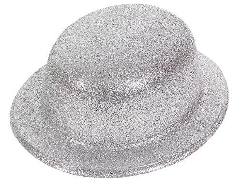 Alsino Bombetta | Cappello Argento | Scintillante | Glitter | Taglia Unica | Adulti | per Travestimento | Costume | Chaplin | Carnevale | Halloween | Serata Festa a Tema, MEL-02 Glitter Argento