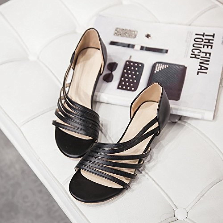 WHW Women's shoes Leatherette Wedge Heel Wedges Slingback Sandals,Black,30