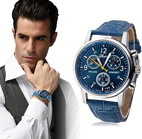 Los Hombres Miran, Fortran cocodrilo de imitación de Cuero para Hombre del Reloj análogo Azul