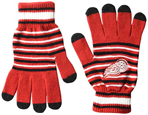 FOCO NHL Detroit Red Wings Unisex-Acryl-Strick-Handschuhe, gestreift, Team-Farbe, Einheitsgröße