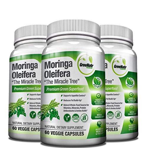 Pure Moringa Oleifera Leaf Extract Capsules, 1000 mg per serving. Gluten Free, NON GMO, Vegan Antioxidant Capsules. Natural Energy, Mood, Memory and Focus Enhancer. Premium Green Superfood (Pack of 3)