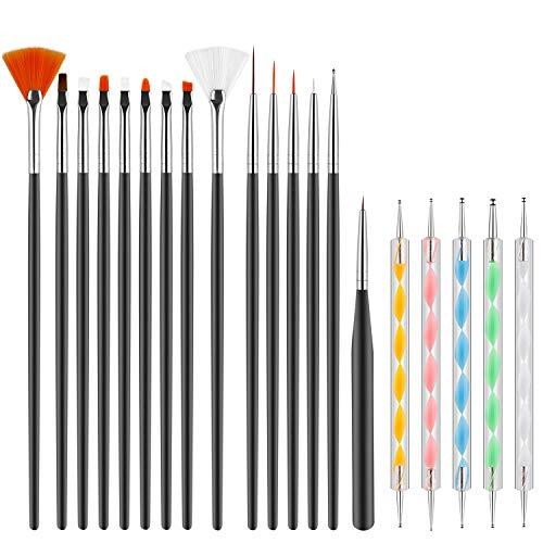 Pinceles para Uñas Acrilicas Profesional Nail Art Cepillo Manicura de Pinceles para Diseño de Uñas 15 pz Negro Pinceles 5 pz Pluma Taladro