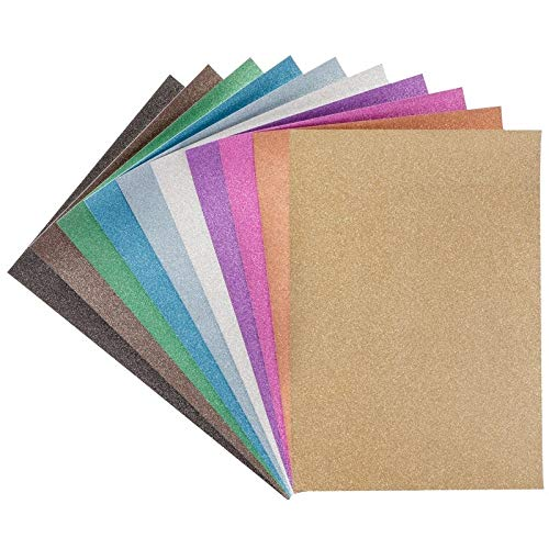 Glitter-Papier | Diamantierte Optik | DIN A4 | 10 verschiedene Farben | 20 Stück