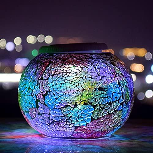 Lixada Lámpara Solar de Bola de Mosaico Que Cambia de Color, Luces LED de jardín con energía Solar, luz de césped Decorativa para jardín Impermeable al Aire Libre