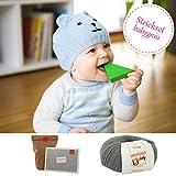MyOma Strickpaket zum selberstricken - DIY Bärchen Mütze Teddy grau DIY Paket zum Stricken für Kinder (3-12 Monate) - Strick Set enthält Merinowolle in grau + Strickanleitung
