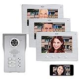 ELRO DV477IP3 Videoportero IP WiFi - 3 familias - con 3 Pantallas a Color de 7 Pulgadas - Color Night Vision - Vista en Vivo y comunicación a través de la aplicación, Aluminio Cepillado