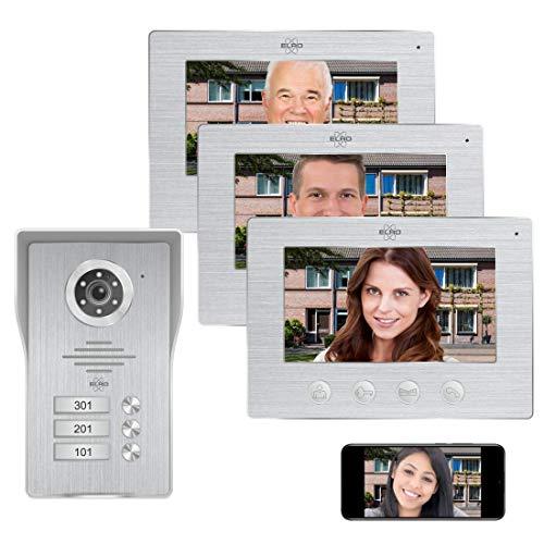 Elro DV477IP3 Videocitofono IP Wifi - 3 famiglie - con schermo a colori 3x 7 pollici - Color Night Vision - visualizzazione dal vivo e comunicazione via app, alluminio spazzolato