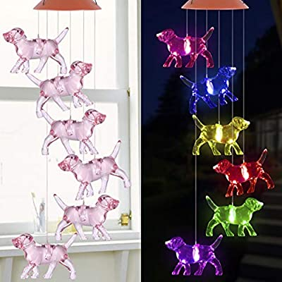 Color Changing LED Dogs Wind Chimes Gift Portable Waterproof Puppy Windchime, Mobile Solar Dog Wind Chime Light, Gift for Mom, Festival, Patio, Night Garden Decoration Light, Solar Light Outdoor Decor