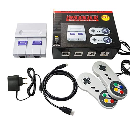 chenpaif Classic Mini Retro Game Console,Super Mini NES Retro Classic Video Game Console TV Game Player Built-in 821 Games with Dual Gamepads