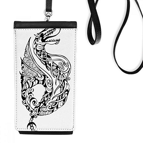 DIYthinker Cultuur Chinese Lijn Schilderen China Draak Traditionele Kunst Lening Faux Lederen Smartphone Hangende Handtas Zwart Telefoon Portemonnee Gift