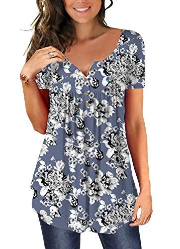 T-Shirt Bedruckte V-Ausschnitt Kurzarm Damen Mode Loose Top Sommer Casual Elegante Tops Pullover-ich_S.