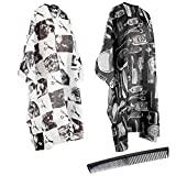 2 Pcs Salon Barber Capes with Professional Haircut Salon Nylon Hair Cutting Capes 55 x 63 inches and Haircut Kit Barber Hairdressing Cape Plus a Carbon Comb for the Home Salon and Barber Shop
