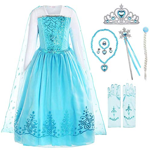 YOGLY Disfraz de princesa Elsa de Frozen, manga larga, con lentejuelas, copos de nieve, color azul claro con accesorios para carnaval, fiesta de Halloween Kleid + Accessoires 40 W/32 L