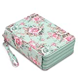 BTSKY Colored Pencil Case- 200 Slots Pencil Holder Pen Bag Large Capacity Pencil Organizer with Handle Strap Handy Colored Pencil Box with Printing Pattern Rose